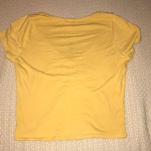 Bozzolo Tops - Mustard V-neck Crop Top